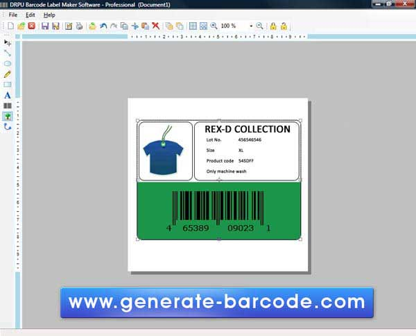 Generate Barcode Label tool create labels