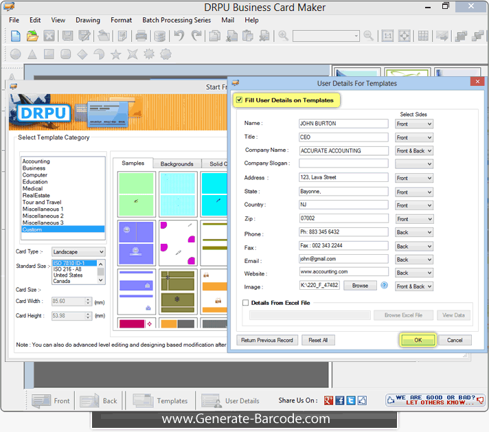 Business card maker software design visiting card generate barcode business card designer tool reheart Gallery