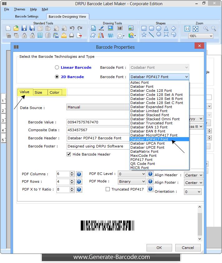 Generate and print Databar PDF417 Barcode Font – Generate
