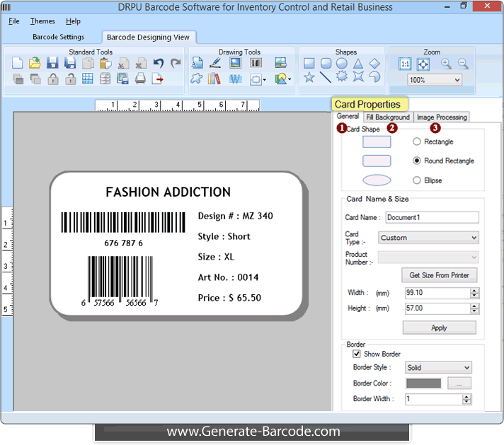 Barcode Software for retail business supports linear and 2D barcode